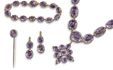 A Victorian amethyst rivière necklace, set with gr…