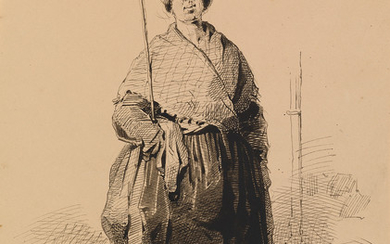 CHARLES JOSEPH TRAVIÈS DE VILLERS (Winterthur 1804 1859 Paris) A Study of a Peasant Woman.