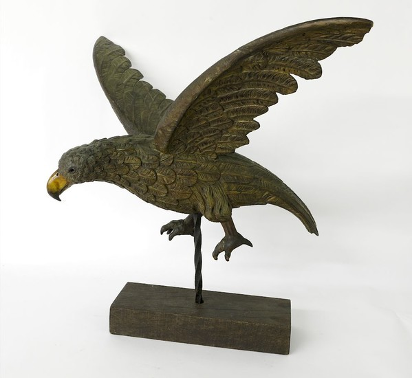 19th Century Carved and Painted Wood Spread Winged Eagle in Flight