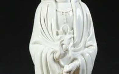 Large Chinese Blanc de Chine Kwan Yin, 20th c.,