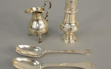 Five piece silver lot, to include three early spoons,
