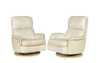 Pair Leather Swivel Recliners
