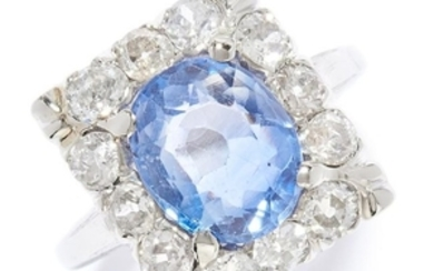SAPPHIRE AND DIAMOND DRESS RING in 14ct yellow gold,
