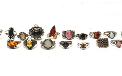 Sterling Silver Rings, Group of 17