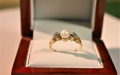 14 kt. Yellow gold - Ring Pearl