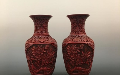 Chinese Carved Lacquer Vases with Qinglong Mark