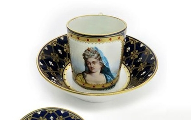 18th C. Sevres Jeweled Porcelain Cup & Saucer