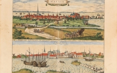 1907/59: Braun & Hogenberg: Two prospects of Copenhagen. 1587. Handcoloured engraving. Sheet size 40 x 53 cm.