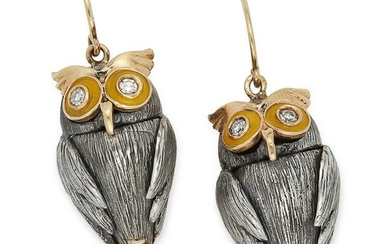 DIAMOND AND ENAMEL OWL EARRINGS set with round cut