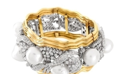 Diamond, Pearl, Platinum and 18K Cuff Bangle