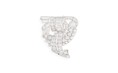A DIAMOND SCROLL CLIP BROOCH,...