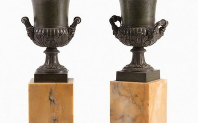 Grand Tour Sienna Marble and Bronze Urns