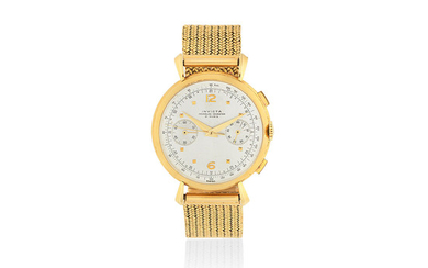 Invicta. An 18K gold manual wind chronograph bracelet watch with fancy lugs