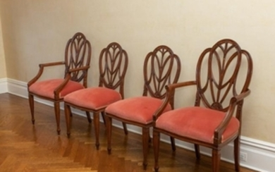 Mahogany Shield Back Chairs - Four