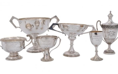 Six silver trophy cups