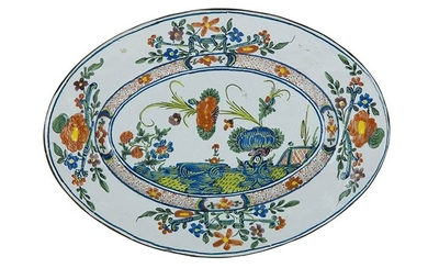 Pair of trays Trays painted in polychromy on an ivory...
