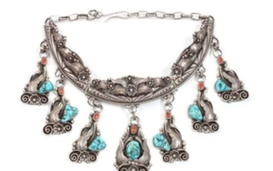 Navajo Silver, Turquoise and Coral Choker Necklace