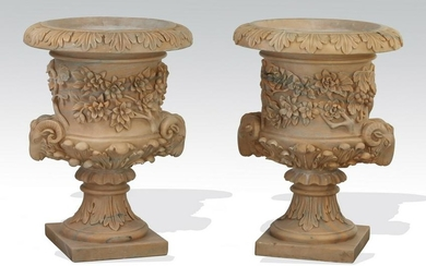 Pair of Neoclassical style carved marble urns