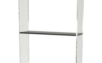 Poul Nørreklit: Wall unit / room divider with perspex sides, darkstained cabinet and shelves. H. 210. W. 87. D. 28/38 cm.