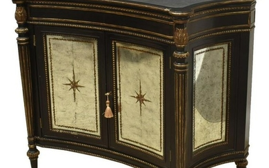 CONTEMPORARY PARCEL GILT MIRRORED CONSOLE CABINET