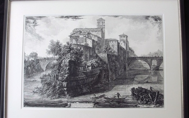 Piranesi, Giovanni: THE ISOLA TIBERINA, WITH S. BARTOLOMEO IN THE FOREGROUND, Year 1775.