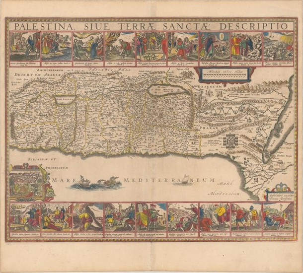 "Decorative Map Featuring 18 Biblical Scenes, ""Palestina, sive Terrae Sanctae Descriptio"", Jansson, Jan"