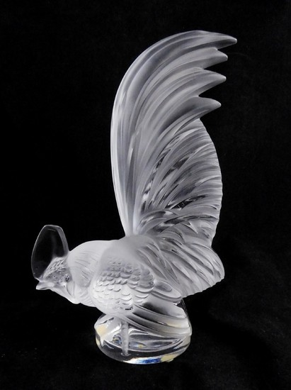 Lalique Crystal ROOSTER Art Glass Figurine BLACK
