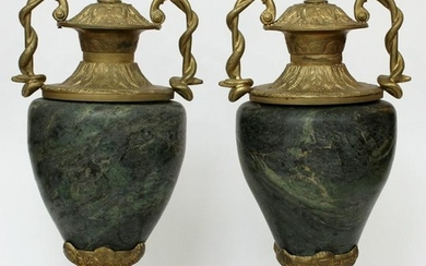 FRENCH, BRONZE & MARBLE DOUBLE HANDLED URNS, PAIR