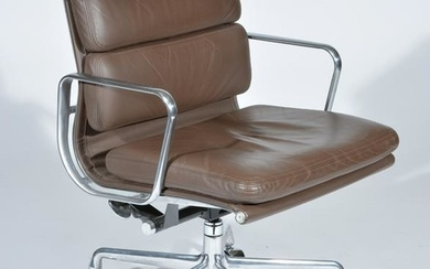 Eames Office Leather and Chrome Swivel Desk Chair