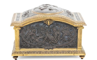 A French Gilt and Patinated Bronze Jewelry Casket