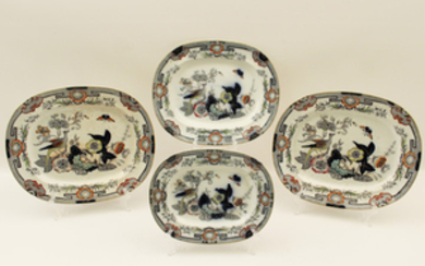 GROUP OF 4 GRADUATING ENGLISH IRONSTONE PLATTERS