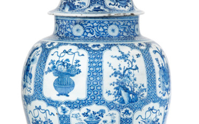 A large blue and white 'Hundred Antiques' jar and cover