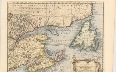 """A New & Accurate Map of the Islands of Newfoundland, Cape Breton, St. John and Anticosta; Together with the Neighbouring Countries of Nova Scotia, Canada &c..."", Bowen, Emanuel"