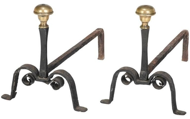 Rare William and Mary Brass and Iron Andirons