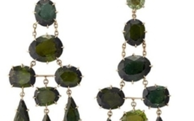 A pair of tourmaline earrings, by H...