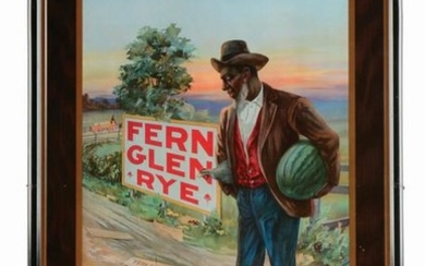 TIN SELF-FRAMED FERN GLEN DISTILLING CO. SIGN.