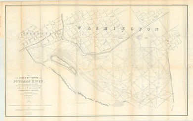 """Chart of the Head of Navigation of the Potomac River. Surveyed by Order of the Sec. of War for the Corporation of Georgetown D.C...."", U.S. War Department"