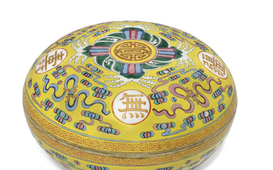 A LARGE FAMILLE ROSE YELLOW-GROUND 'BIRTHDAY' BOX AND COVER, GUANGXU SIX-CHARACTER MARK IN IRON-RED AND OF THE PERIOD (1875-1908)