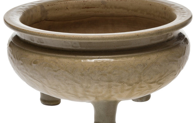 A Chinese Incised Celadon Porcelain Tripod Censer (late Ming Dynast)