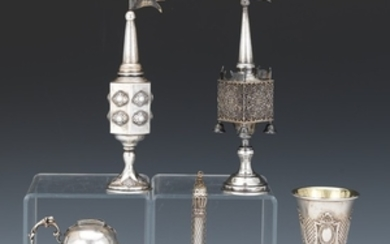 Two Judaic Sterling Silver Spice Towers, Kiddish Cup, Donation Holder and Torah Pointer
