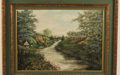 FRAMED PROVINCIAL OIL ON CANVAS LANDSCAPE PAINTING