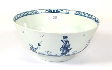 A Worcester Porcelain Bowl, circa 1758, painted in underglaze blue...
