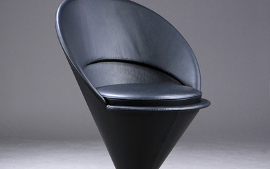Verner Panton. Chair, Cone Chair, black aniline leather