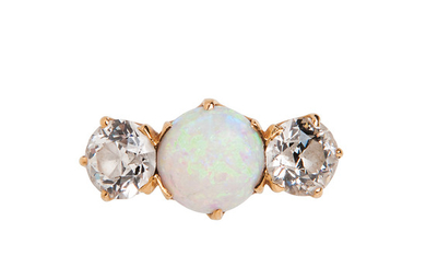 Antique 18kt Gold, Opal, and Diamond Ring, Tiffany & Co.