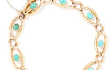 ANTIQUE TURQUOISE BRACELET in 15ct yellow gold, each