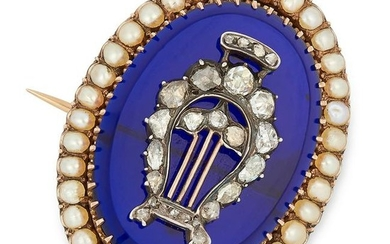 ANTIQUE VICTORIAN PEARL, DIAMOND AND BLUE HARDSTONE