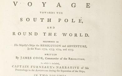 COOK, Captain James (1728-1779). A Voyage Towards the South Pole, and Round the World. Performed in His Majesty's Ships the Resolution and Adventure, in the Years 1772, 1773, 1774 and 1775 ... the third edition. London: W. Strahan and T. Cadell, 1779.,