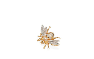 A diamond and gold bee brooch