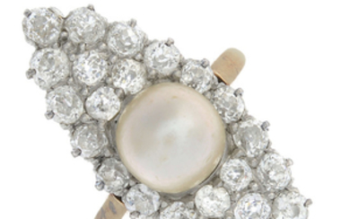 An early 20th century 18ct gold natural pearl and diamond cluster ring.