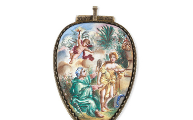 A gilt metal and polychrome enamel key wind pendant pocket watch